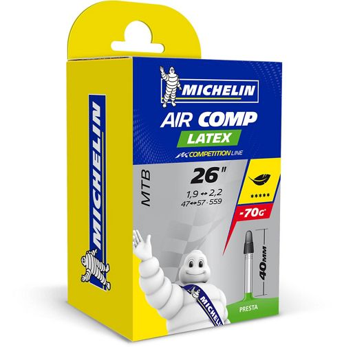 Chambre air vtt michelin c4 aircomp latex chain for Chambre a air vtt increvable