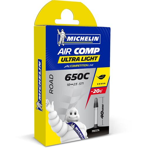 Chambre air v lo route michelin b1 aircomp ultralight for Taille chambre a air velo